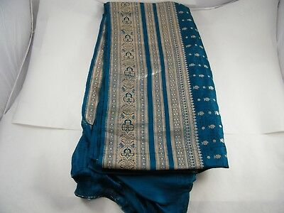 Beautiful Embroidered Polyester Saree Tan And Blue And Gold