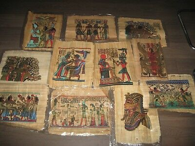 """Big Lot Of 11  Egyptian Papyrus Museum Art Paintings_17X13"""""""