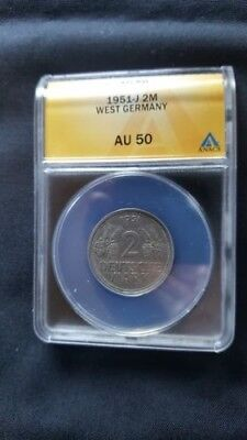 Germany 2 Mark coin ANAC certified AU 50
