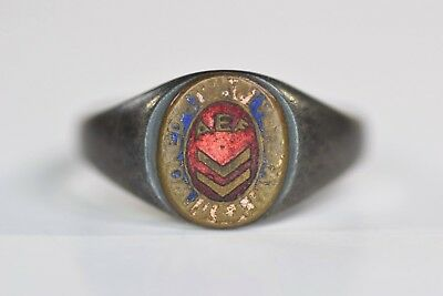 Authentic WWI AEF Veteran U.S. Army or Marine Corps ENAMEL RING in Sterling 925