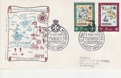 Sovereign Military Order of Malta SMOM FDC 1968 Locations (a)