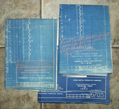 3 Misc.Freight Car Related Blueprint Railway Drawings Railroad Train Cars