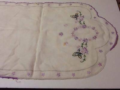 Vintage Table Runners Hand Embroidered Crochet Edge  Linens Lot Of 7