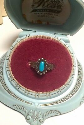 Pretty Antique/Vintage Art Deco Sterling Silver Turquoise Ring