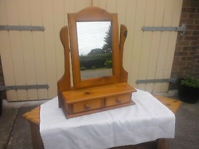 Mirror: Free standing Solid Pine two drawer vanity mirror, the mirror tilts