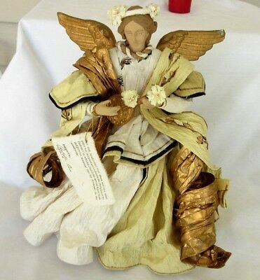 """13"""" Angel Handcrafted From Abaca & Rice Straw Paper Phillipines"""