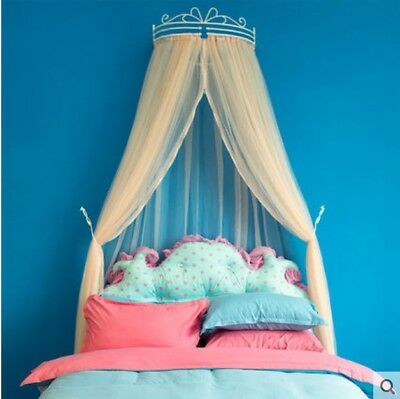 European Queen Orange Yarn Ceiling Type Mosquito Net Bed Canopy Bed Curtain#