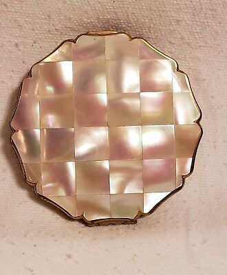 Vintage Stratton Mother Of Pearl Compact W/mirror Gold Tone * Look *