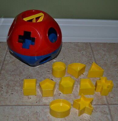 Vintage Tupperware Tupper Toys SHAPE O BALL Shape Sorter w/ all 10 Shapes