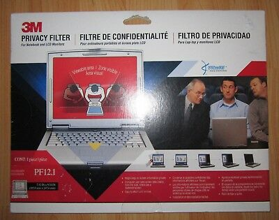 3M PF12.1 Standard Screen Laptop Privacy Filter Monitor Notebook Reversible NEW