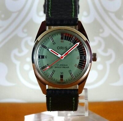 VINTAGE ORIS Men's Watch. Hand Winding, Green/Black Dial, 17jewel, Swiss Made.