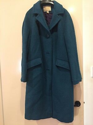 """Vintage Deep Aquamarine Wool and Mohair Coat (Made in England) size """"14"""""""