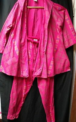 Bright Pink 2 Pce Cotton pull on Pants   swing Top African Village Free sz Vtg