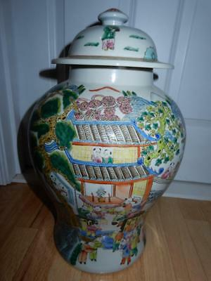 Antique Chinese Tea caddy Ginger jar Hundred Boys Famille Rose  19th Century