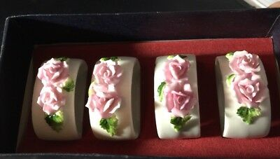 4 VTG White Bone China Napkin Rings. Double Pink Roses with Leaves. Hand Painted