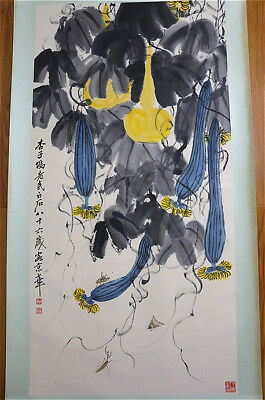 RARE Chinese 100%  Handed Painting & Scroll Gourds By Qi Baishi 齐白石 AL789