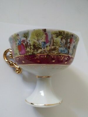 Antique Porcelain Village People Figured Teacup