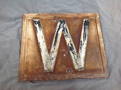 Old antique cast railways whistle board sign (approx size 30 by 25cm)