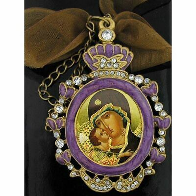 Virgin of Vladimir Ornate Jeweled Icon Pendant Madonna & Child w/Chain and Bow