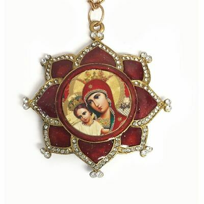 Madonna and Child in Ornate Jeweled & Enamel Icon Pendant w/ Chain Bow - Antique
