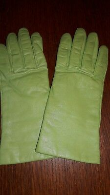 Fownes Leather Gloves, Cashmere Lined, Lime, Size 7
