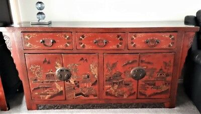 Antique Chinese Oriental 19th Century Solid Elm Lacquered Sideboard Cabinet