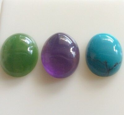 3 PC OVAL SHAPE CABOCHON NATURAL JADE/AMETHYST/TURQUOISE 12x10MM LOOSE GEMSTONES