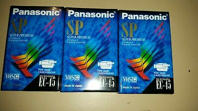 3x Panasonic VHS-C VHSC EC-45 Camcorder Video Tapes Sealed NEW