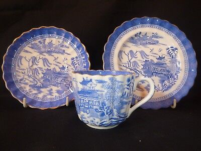 A Vintage Willow Pattern Cup Saucer And Plate