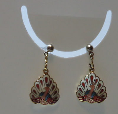Vintage CLOISONNE Dangle PEACOCK Earrings - Off-White Red Pink & Teal 1-1/4""