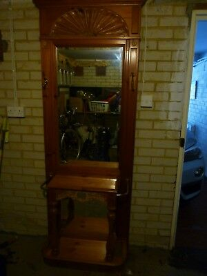 Used Old Pine Furniture Hall Stand/2 Mirrors/chest Of Drawers Can