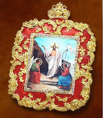 Resurrection of Christ Ornate Jeweled & Enameled Framed Orthodox Icon Pendant