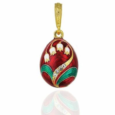 Lilies of the Valley Ornate Jeweled & Enameled Egg Pendant