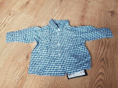 Marks and Spencer blue checked long sleeved shirt age 0-3 months New with tag