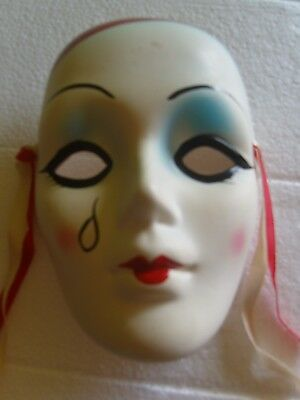 Pottery Tear Drop Mask with Red and White Ribbons, Approximate Size 16x12x7cm