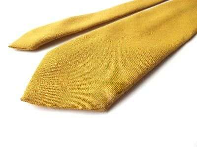 Vintage BEAU MONDE Pure Wool Neck Tie Mustard Yellow Gold Classic Style FREE P&P
