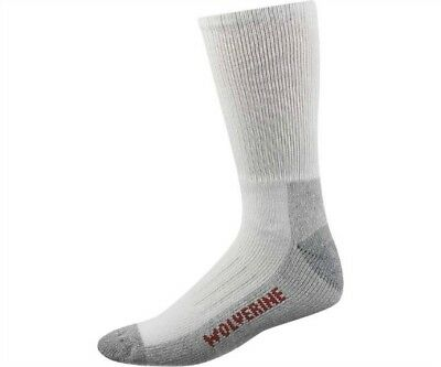 Wolverine Over the Calf Steel Toe Boot Sock, L (10-13) , White, 6 pair $28.99