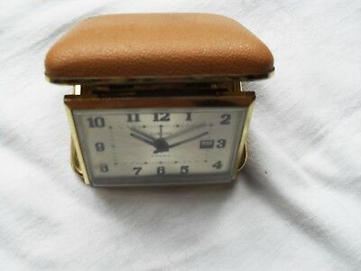 Vintage Europa 2 Jewel Calendar Travel Alarm Clock