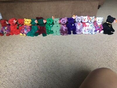 Ty Beanie babies Large Lot of 14 with tags excellent condition