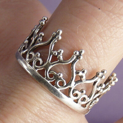 ROYAL CROWN Size US 6 1/4 SilverSari Finger/Thumb Ring Solid 925 Sterling Silver