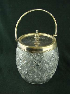 Beautiful Antique Cut Glass & Silver Plated Biscuit Barrel, Storage Jar, Display