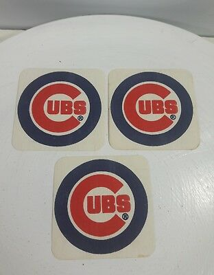 Chicago Cubs 3 Patch Paper Coaster Baseball Advertising Collectibles