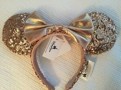 Disney Parks MINNIE MOUSE EARS Rose Gold Sequin Bow HEADBAND 1 SIZE NWOT