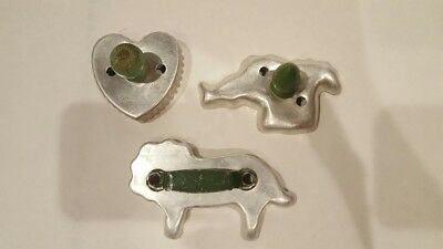 Vintage Cookie Cutters-Lot Of 3 With Green Handles