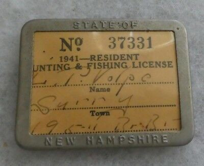 Vintage 1941 New Hampshire  Resident Hunting-Fishing License In Metal Holder