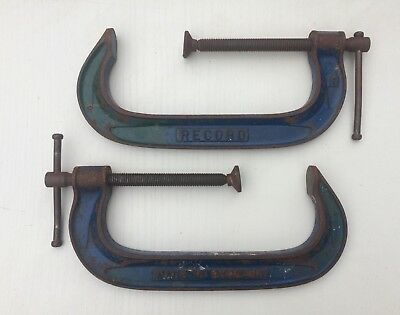 """Pair Of Vintage Heavy Duty RECORD 10"""" G Cramp / Clamps - Made In England"""