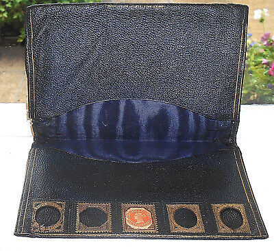 ANTIQUE VICTORIAN LEATHER WALLET WITH STAMP HOLDER c.1890
