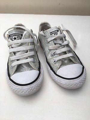 girls silver sparkle converse all star,low rise,lace up,size 12 uk