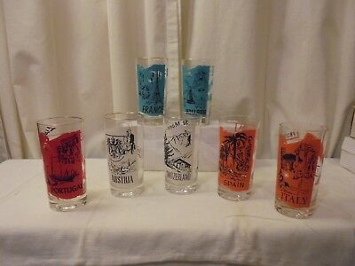 Pan Am Airlines Vintage Advertising Set Of 7 Glass Tumblers Glasses Excellent