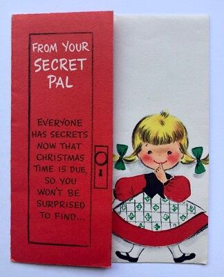 Vintage Hallmark Secret Pal Christmas Card Cute Girl Dress Closet Coat Present